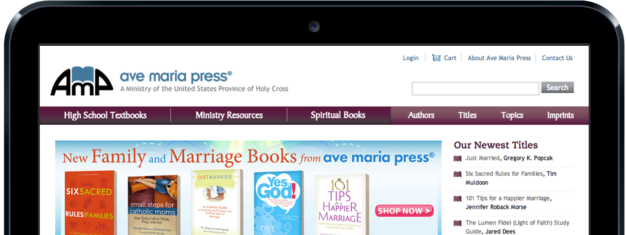 screenshot of ave maria press website