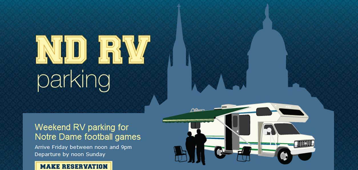 NDRV needed a website to advertise their RV parking services for Notre Dame football game weekends.  We built them an eye-catching website that creatively incorporates Notre Dame colors and an outline of the campus skyline.